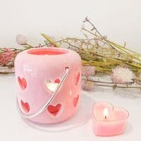 Heart Candle Lantern - Pink